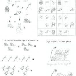 Velikonoční, Velikonoce, pracovní, listy, svátky, děti, hrát si, hra, hry, omalovánky, malovat, barvit, barvy, vykreslit, báseň, básnička