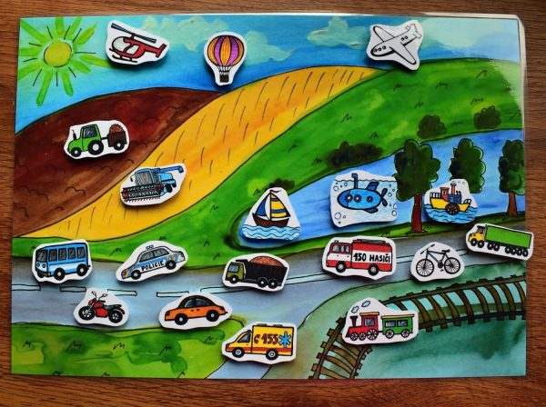 dopravní, prostředky, prostředek, doprava, v, krajině, krajina, obrázek, obrázky, černobílé, černobílý, barevný, barevná, barva, barvy