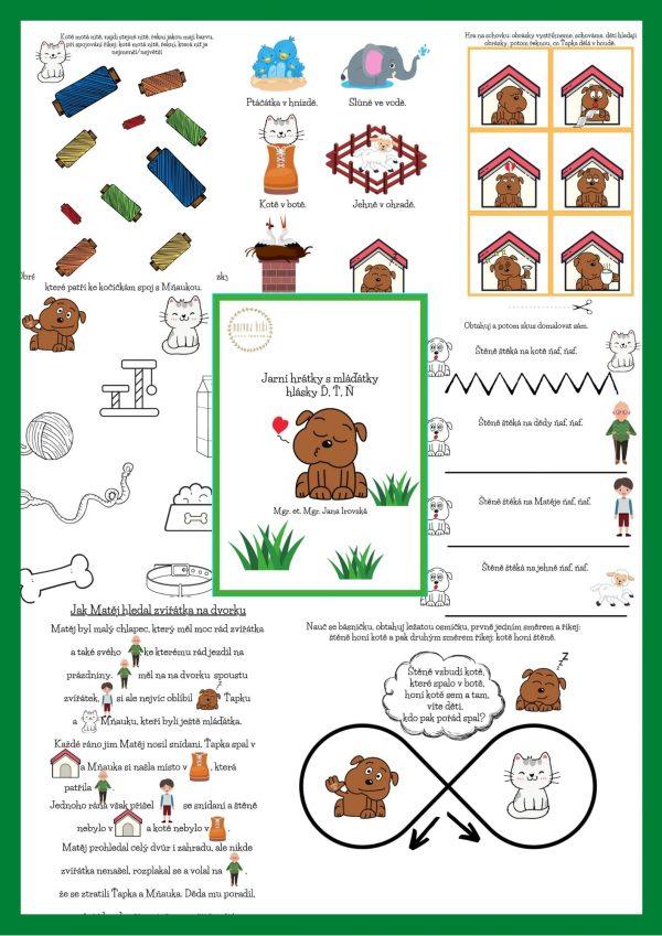 jarní, jaro, hrátky, hra, hry, hrát si, s, mláďátky, mláďátko, hlásky, Ď, Ť, Ň , pdf