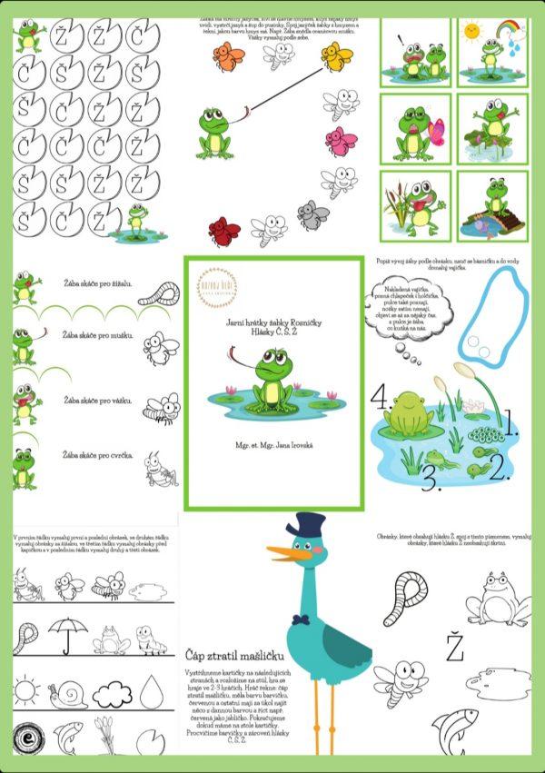 jarní, hrátky, hra, hry, hrát si, žabky, Rosničky, Rosnička, hlásky, hlásky, Č, Š, Ž, pdf