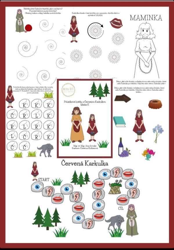 pohádkové, hrátky, s, červenou, Karkulkou, obrázky, pohádky, obrázek, hláska, K, pdf