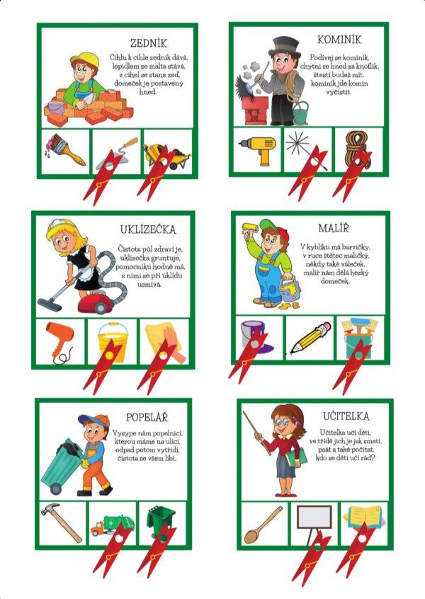povolání, hrátky, s, kolíčky, básničky, pdf, hry, hru, hrát si, obrázek, obrázky