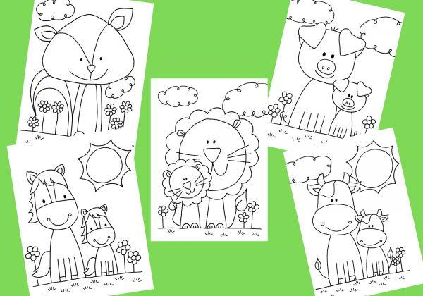 zvířátkové, zvířátko, zvíře, omalovánky, omalovat, vymalovat, malovat, kreslit, barva, barvy, barvičky, černobílé, černobílá