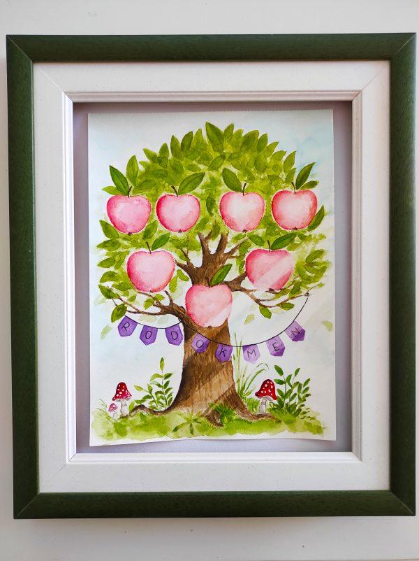 malovaný, namalovaný, rodokmen, rodina, člen, členové, rodiny, strom, větev, koruna, plod, kmen