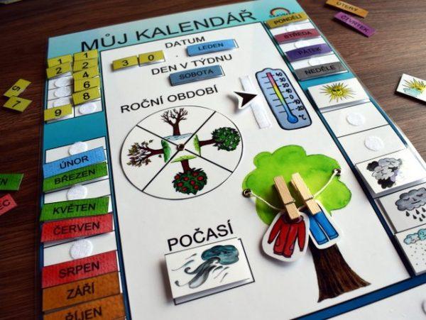 Můj, kalendář, modrá, varianta, obrázek, obrázky