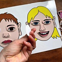 obličeje, obličej, oči, uši, pusa, nos, čelo, brada, tvář, tváře, hlava, vlasy, suchý, zip