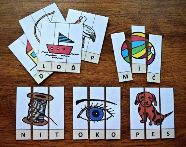 Písmena, slabiky, skládání, složit, papír, rozstříhat, auto, jídlo, ovoce, rostlina, oblečení, zvířata, hračky