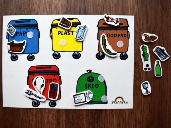 třídění, odpadu, odpadků, odpad, recyklace, modrý, žlutý, hnědý, červený, zelený, kontejner, obrázek, obrázky