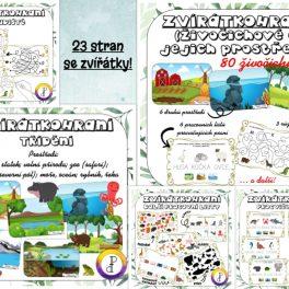 Zvířátkohraní, zvířátko, zvířátka, zvíře, hraní, hra, hry, hrát si, hrátky, obrázky, obrázek, černobílá, barvy, barva, zrakové, vnímání, logické, myšlení, uvažování, jemná, motorika, počty, počítání