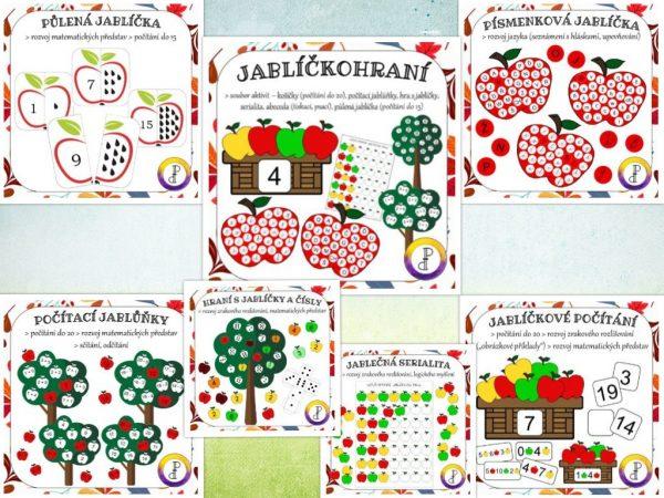 Jablíčkohraní, jablíčko, jablíčkové, počítání,jablko, jablka, hraní, hrát si, hrát, pohrát si, logické, myšlení, rozvoj, řeči, řeč, matematické, představy
