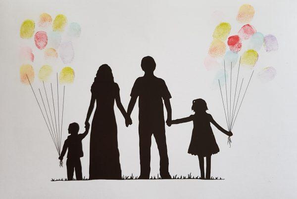 přání, otisky, prstů, prst, otisk, sladké, narozeniny, kolo, obrázek, nafukovací, balónky, rodina, máma, táta, děti, rámeček