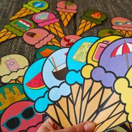 Zmrzlinové, trable, zmrzlinová, zmrzlina,, Letní, hra, pro, rozvoj, řeči, obrázek, obrázky