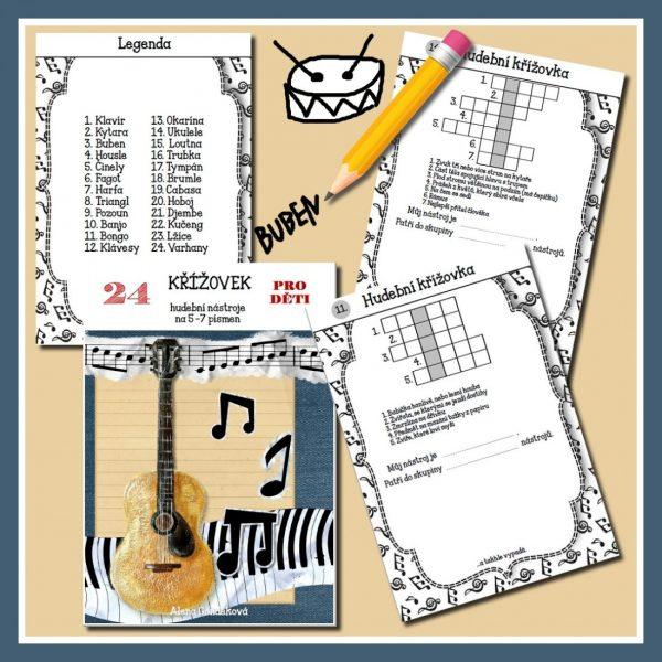 Hudební, nástroje, 24, křížovek, na, 5, 7, písmen