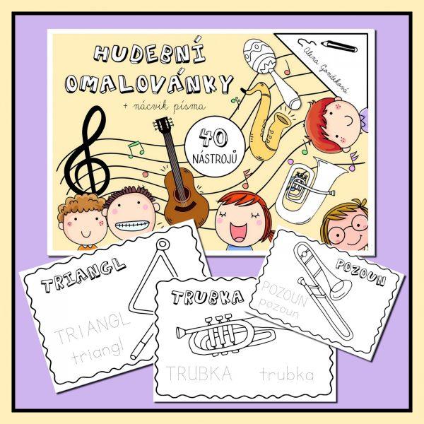Hudební, nástroje, 40, omalovánek, s, nácvikem, psaní