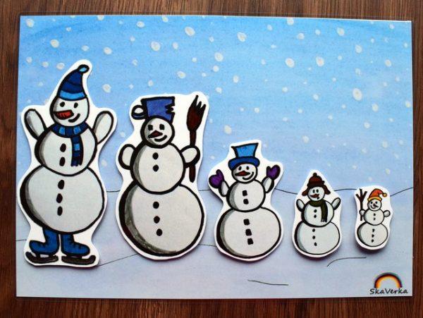 Sněhuláci, podle, velikosti